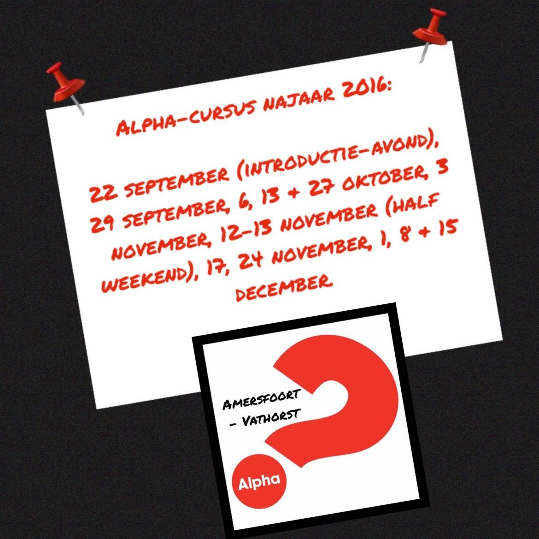 Planning Alpha Cursus najaar 2016